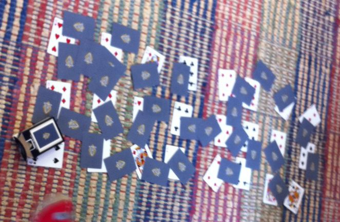 cards scattered on floor